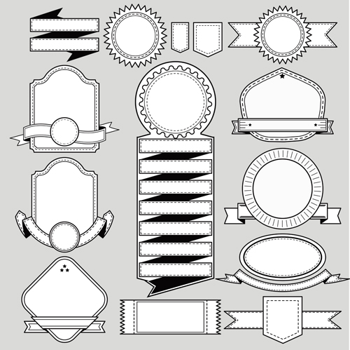 Black with white blank labels vector set 01