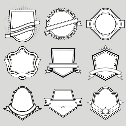 Black with white blank labels vector set 02
