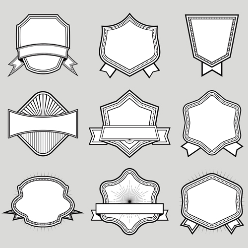 Black with white blank labels vector set 03
