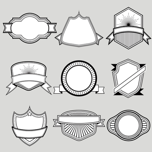 Black with white blank labels vector set 04
