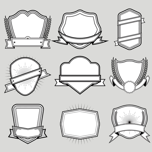 Black with white blank labels vector set 05
