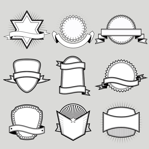 Black with white blank labels vector set 06