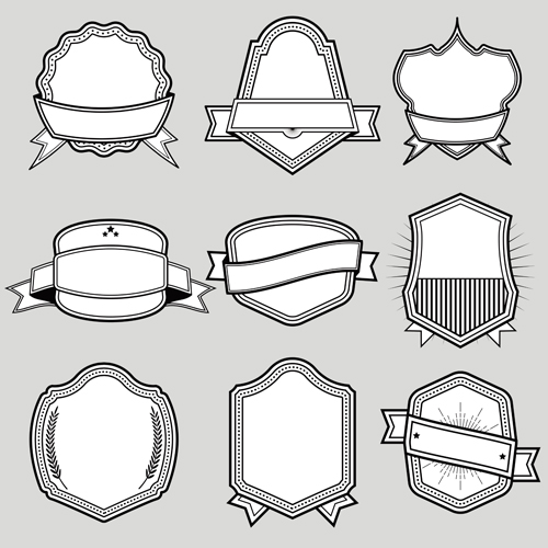 Black with white blank labels vector set 07