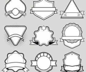 Black with white blank labels vector set 08