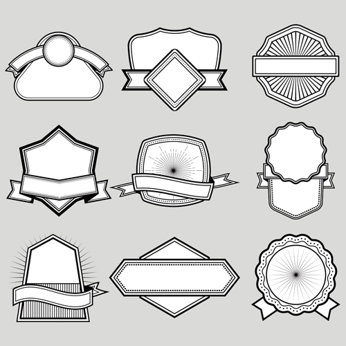 Black with white blank labels vector set 09