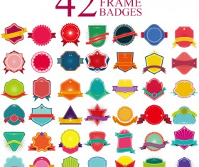 Blank colored badges design vector 01