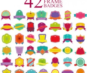 Blank colored badges design vector 02