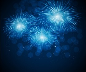 Blue fireworks vector background 01