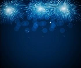 Blue fireworks vector background 02