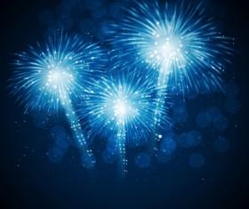Blue fireworks vector background 03