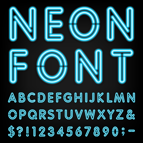 Blue Neon Number With Alphabet Vectors Material Free Download