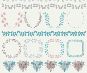 Borders with frame and laurel wreath cute vector 01