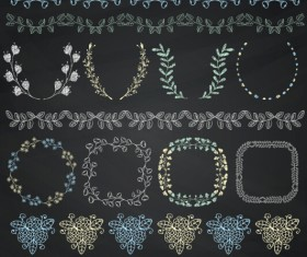 Borders with frame and laurel wreath cute vector 02