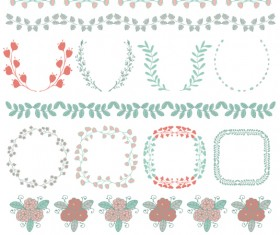 Borders with frame and laurel wreath cute vector 03