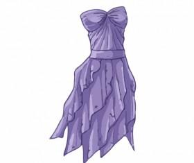 Cartoon evening dress fashion vector illustration 01