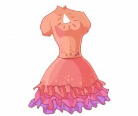 Cartoon evening dress fashion vector illustration 02