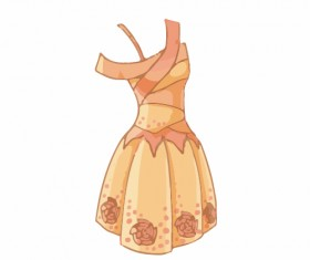 Cartoon evening dress fashion vector illustration 03