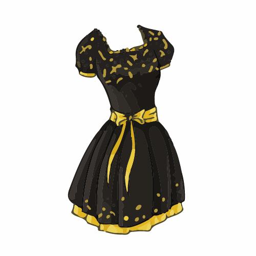 Cartoon Evening Dress Fashion Vector Illustration 05
