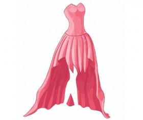 Cartoon evening dress fashion vector illustration 08