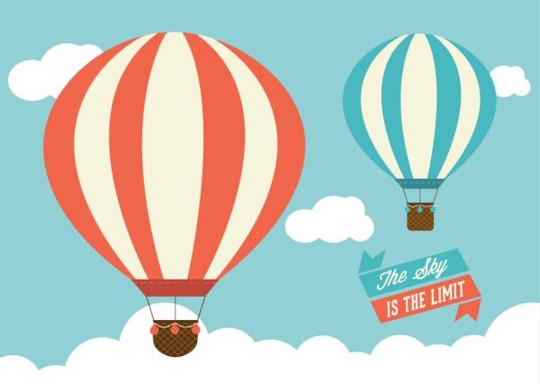 Cartoon hot air balloon with cloud vector vector cartoon - Globos aerostaticos infantiles ...