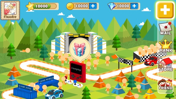 Cartoon mobile game interface psd material