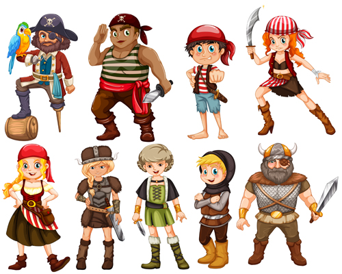 Pirate vector for free download cartoon pirate design vectors set 02 stopboris
