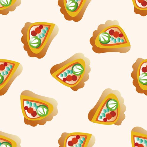 Cartoon pizza pattern seamless vectors 02
