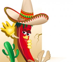 Cartoon red hot pepper and cactus vector 01