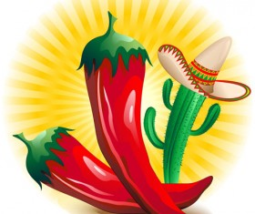 Cartoon red hot pepper and cactus vector 02