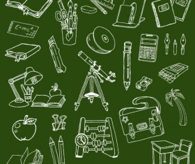 Chalk drawn school elements vector