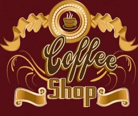 Classical coffee shop logos vector set 08
