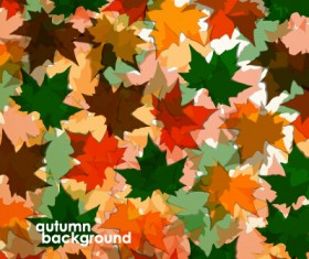Colored autumn leaves vector backgrounds 02