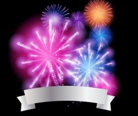 Colorful fireworks with ribbon vector background 03