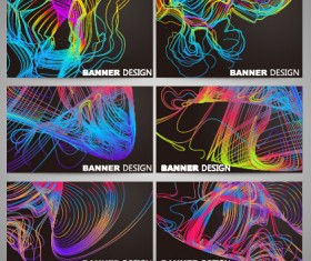 Colorful line business card vector set 01