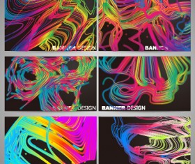 Colorful line business card vector set 02