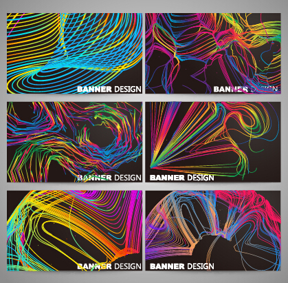 Colorful line business card vector set 03