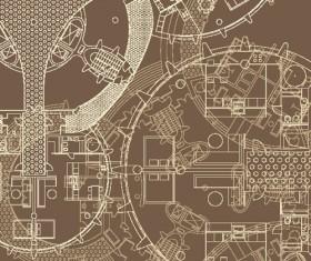 Creative architectural blueprint background vector 02
