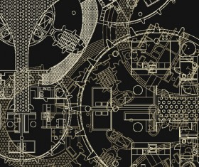 Creative architectural blueprint background vector 06