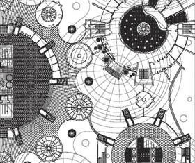 Creative architectural blueprint background vector 07