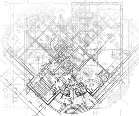 Creative architectural blueprint background vector 08