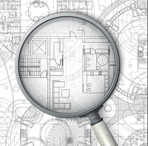 Creative architectural blueprint background vector 13