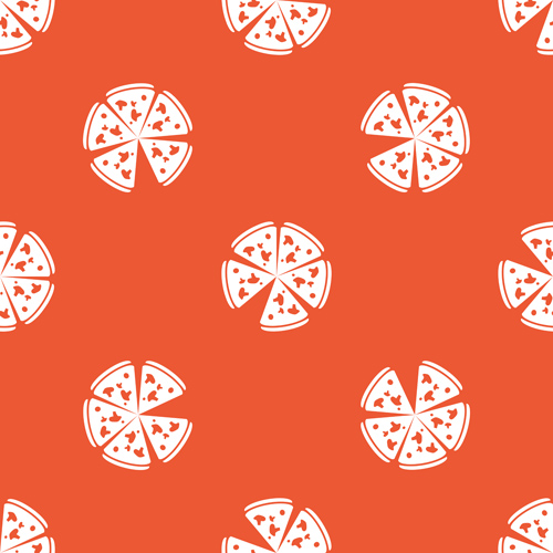 Creative pizza seamless pattern vector set 04