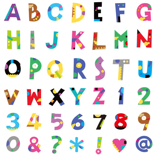 Cute color numbers with alphabet and symbol vector vector font cute color numbers with alphabet and symbol vector altavistaventures Images