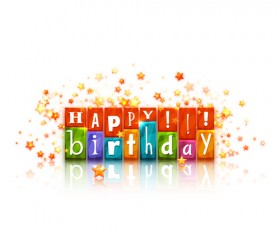 Cute happy birthday cards vector 02