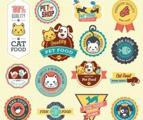 Cute pet food labels vector graphics
