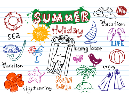 Cute summer holiday hand drawing elements vector vector for Architecture drawing 500 days of summer