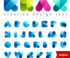 Cute transparent font vector material
