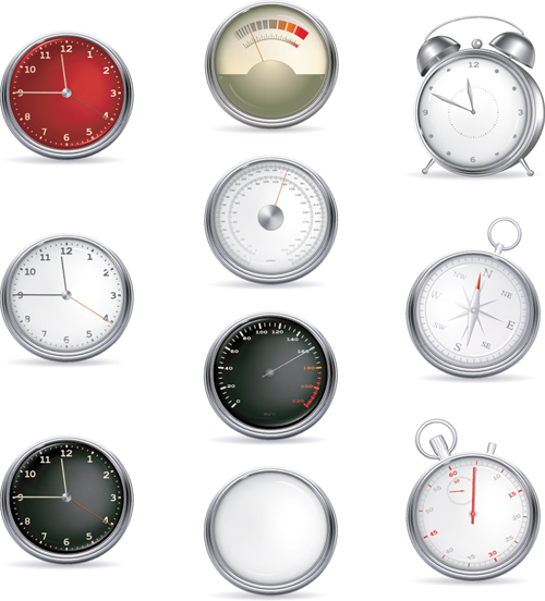 Different clock icons vector set