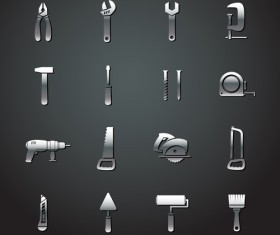 Different metal tools vectors material
