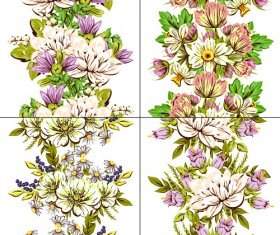 Elegance flowers pattern seamless vector material 04